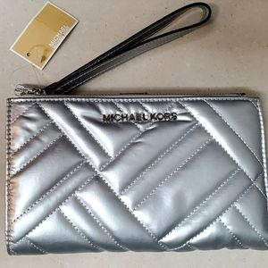 Michael Kors Large Double Zip Wristlet Silver